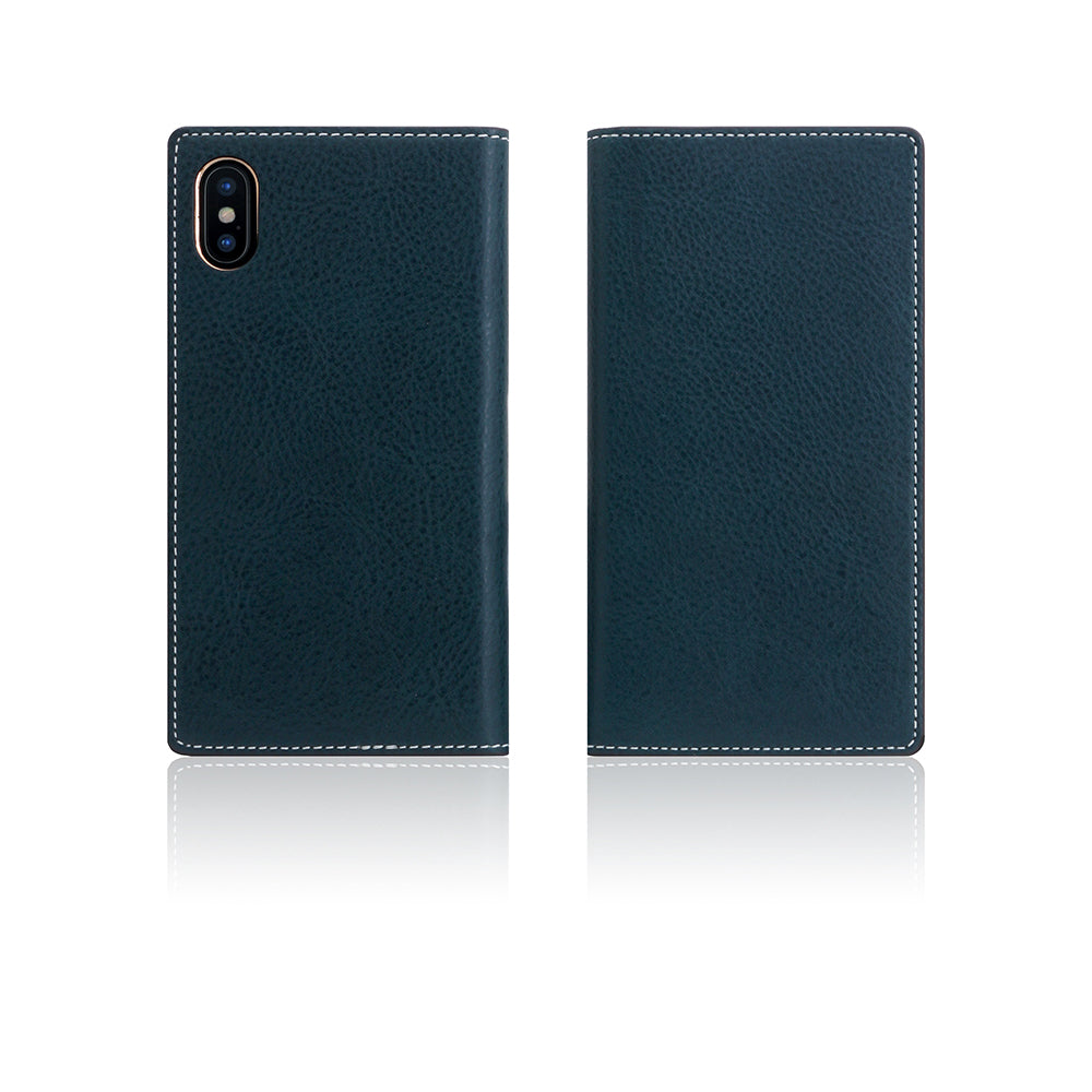D6 Italian Minerva Box Leather Case for iPhone X / XS Blue