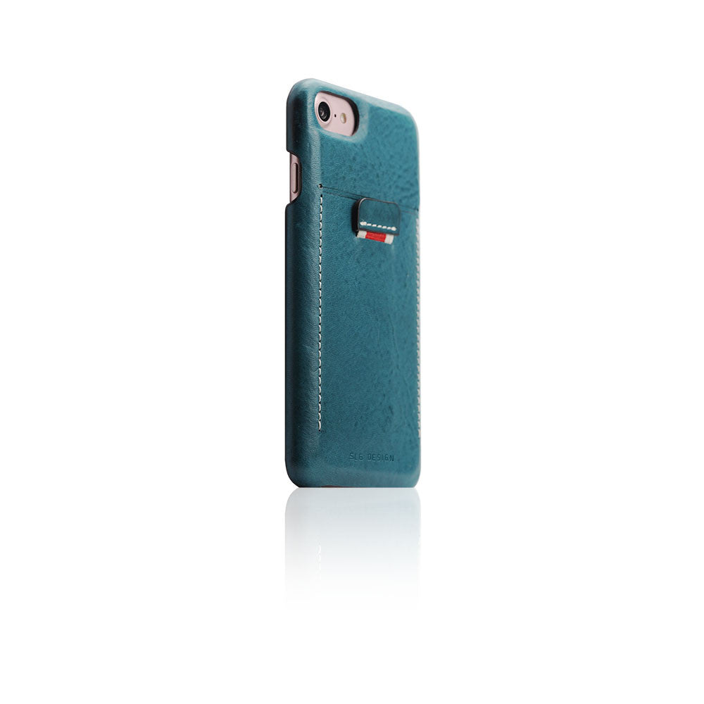 D6 Italian Minerva Box Leather Back Case for iPhone 8 / 7 Blue