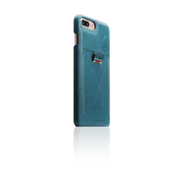 D6 Italian Minerva Box Leather Back Case for iPhone 8 Plus / 7 Plus Blue