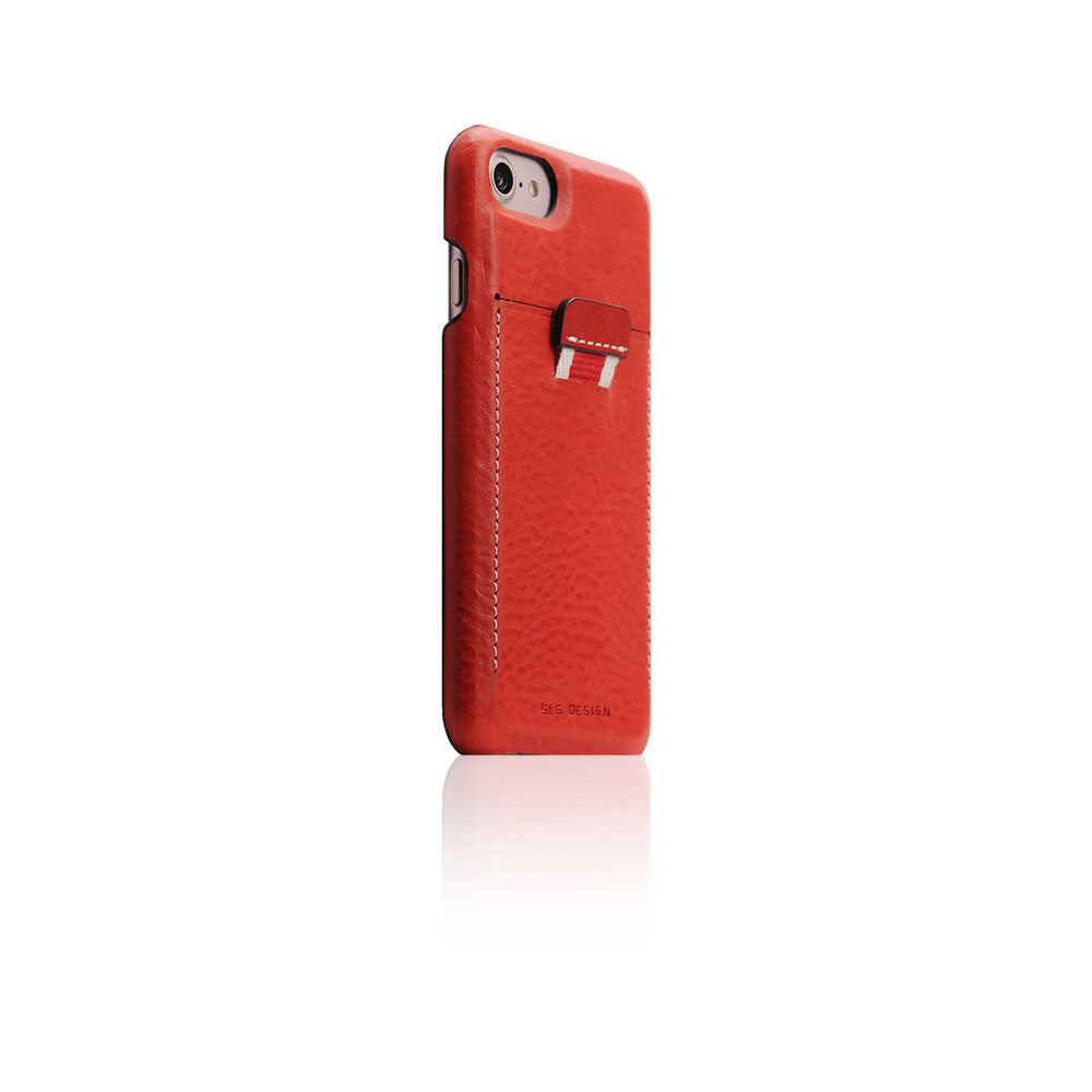 D6 Italian Minerva Box Leather Back Case for iPhone 7 Red