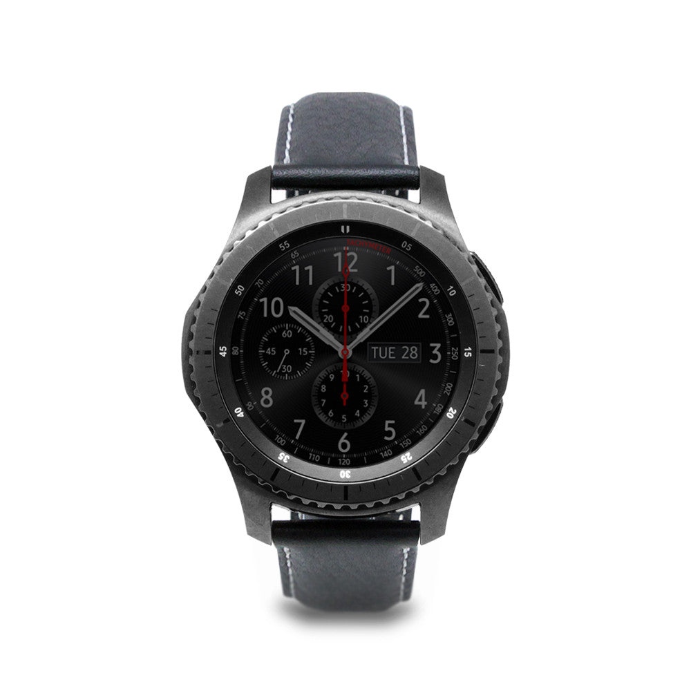 D6 Italian Minerva Box Leather Strap for Gear S3 Black