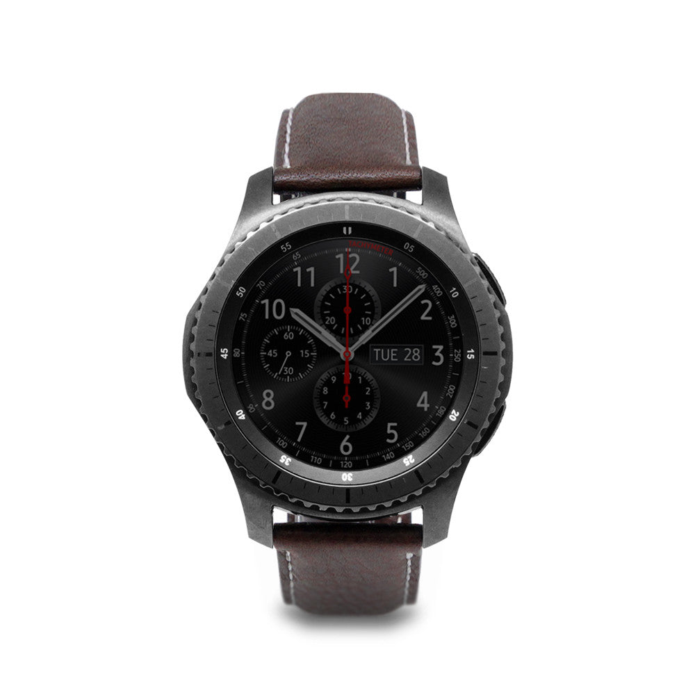 D6 Italian Minerva Box Leather Strap for Gear S3 Brown