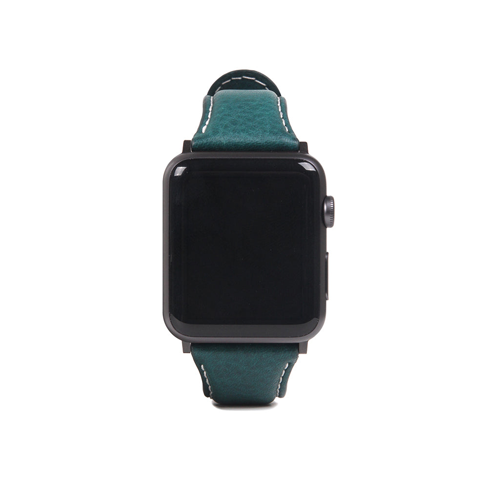 D6 Italian Minerva Box Leather Strap for Apple Watch 1to5 42/44mm Blue