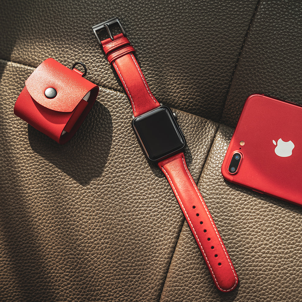 D6 Italian Minerva Box Leather Strap for Apple Watch 1to5 38/40mm Red