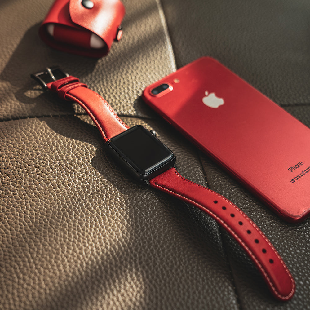 D6 Italian Minerva Box Leather Strap for Apple Watch 1to5 42/44mm Red