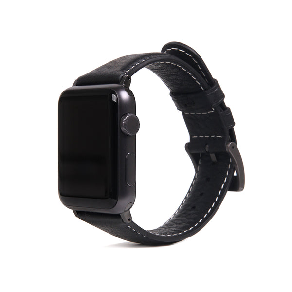 D6 Italian Minerva Box Leather Strap for Apple Watch 1to5 42/44mm Black