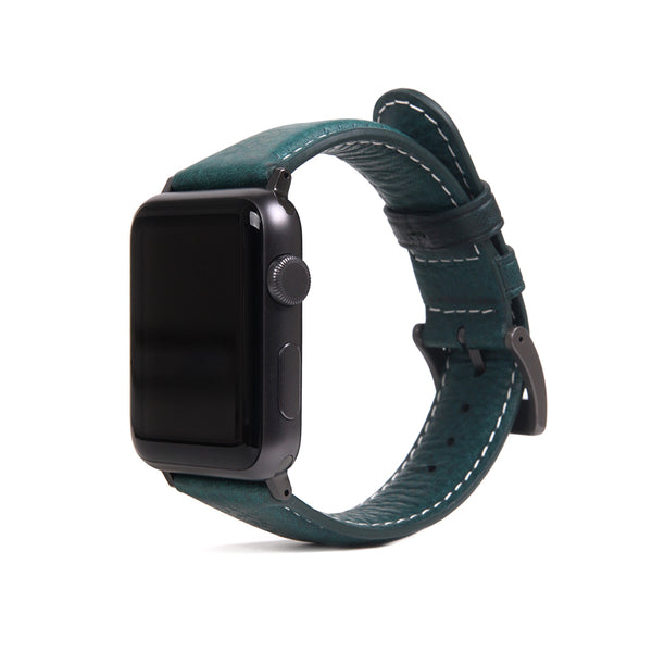 D6 Italian Minerva Box Leather Strap for Apple Watch 1to5 38/40mm Blue