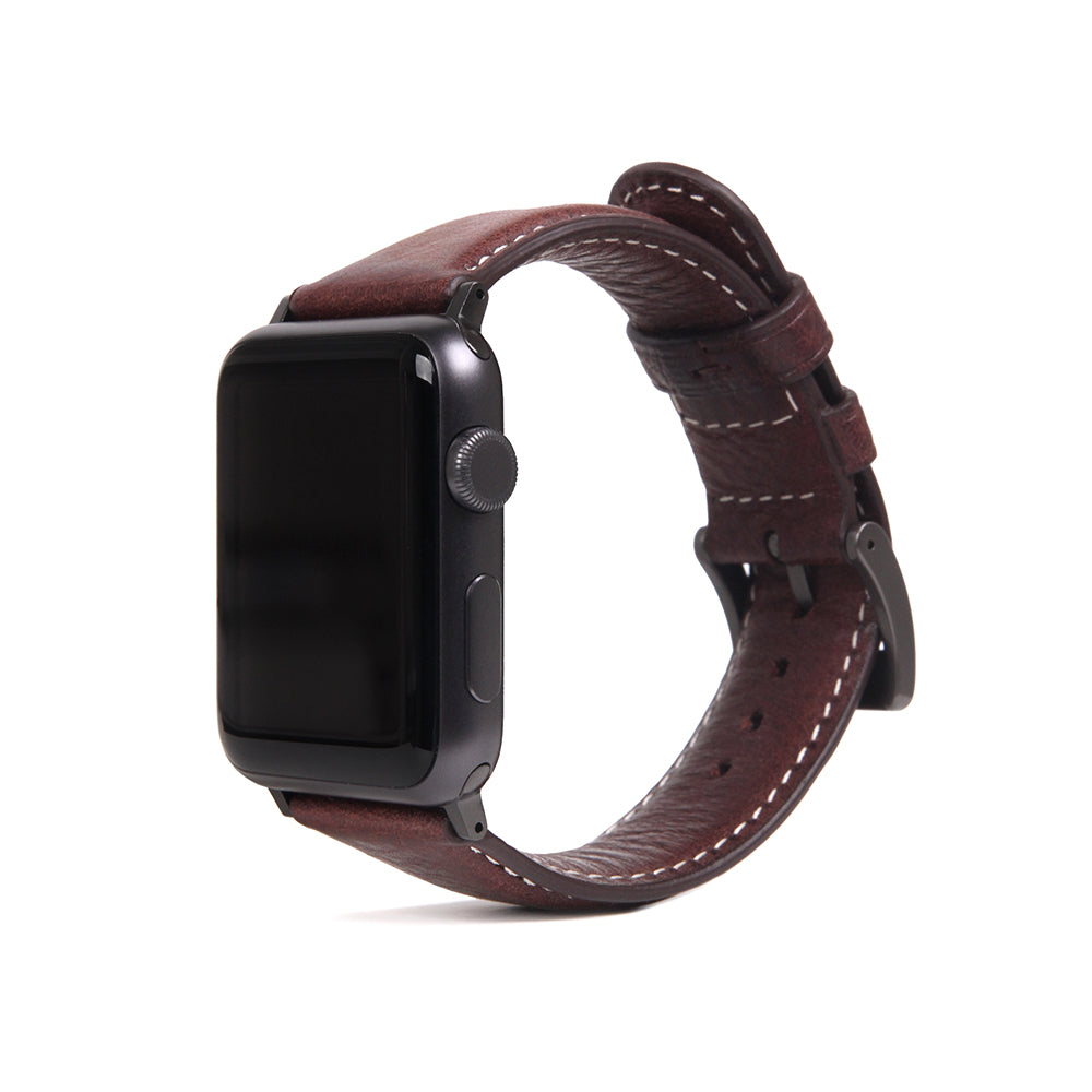 D6 Italian Minerva Box Leather Strap for Apple Watch 1to5 42/44mm Brown
