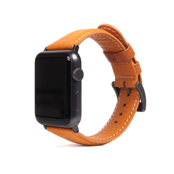D6 Italian Minerva Box Leather Strap for Apple Watch 1to5 38/40mm Tan