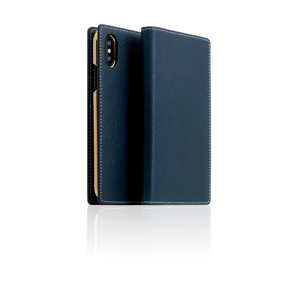 D6 Italian Minerva Box Leather Case for iPhone X Blue