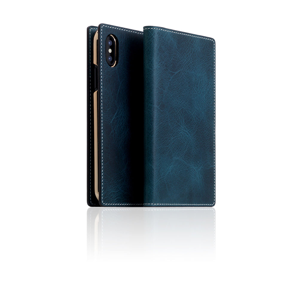 low priced 1e0d0 1a28d D7 Italian Wax Leather Case for iPhone X / XS Blue