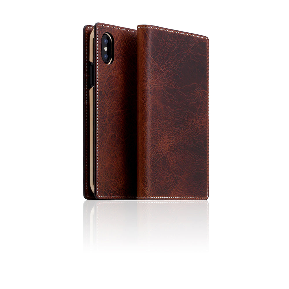 D7 Italian Wax Leather Case for iPhone X / XS Brown