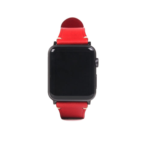 D7 Italian Buttero Leather Strap for Apple Watch 1to5 38/40mm Red