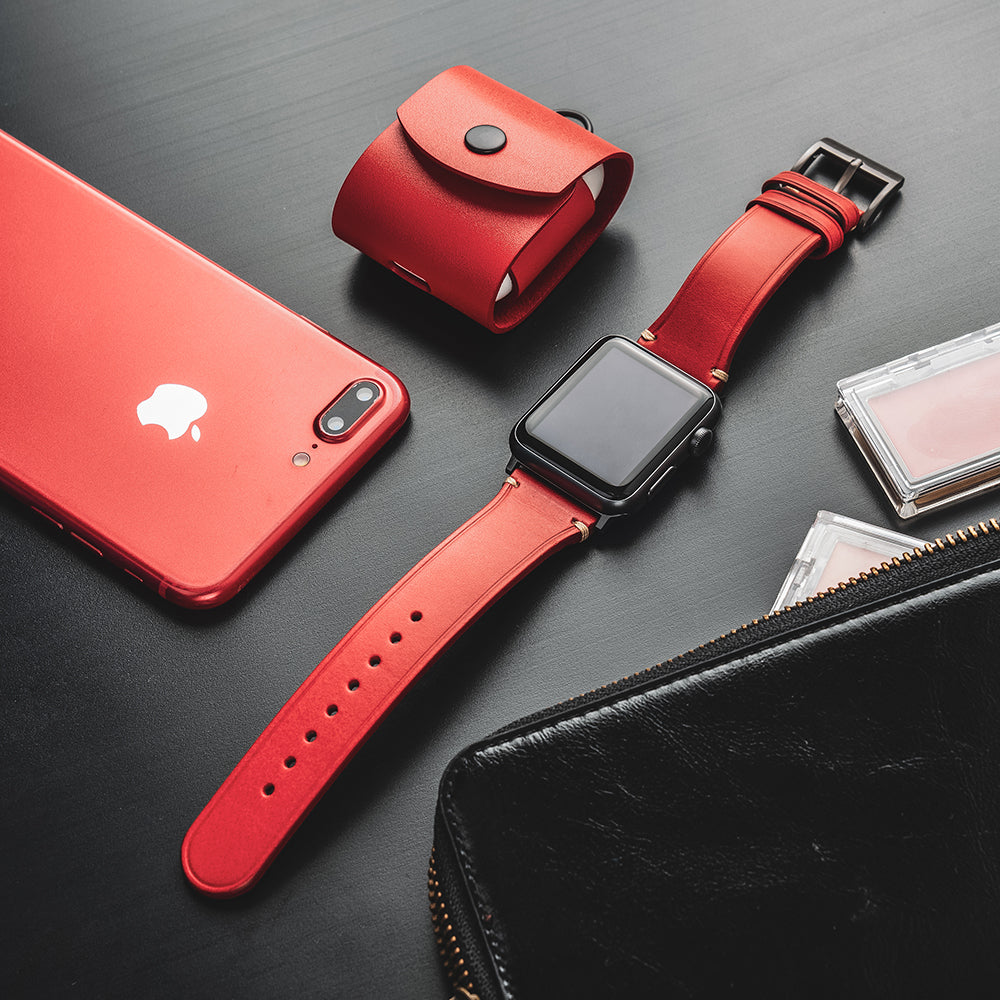 D7 Italian Buttero Leather Strap for Apple Watch 1to5 42/44mm Red