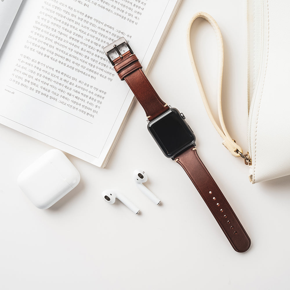 D7 Italian Buttero Leather Strap for Apple Watch 1to5 42/44mm Brown