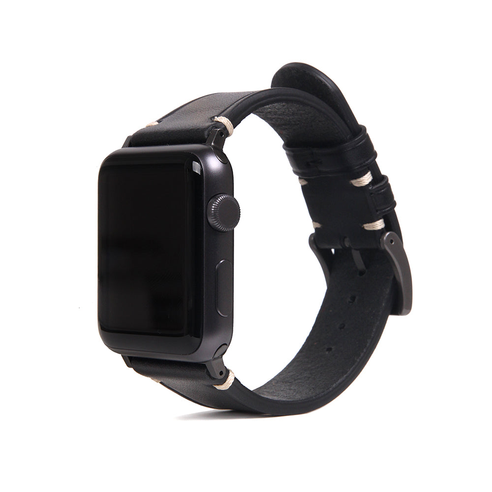 D7 Italian Buttero Leather Strap for Apple Watch 1to5 42/44mm Black