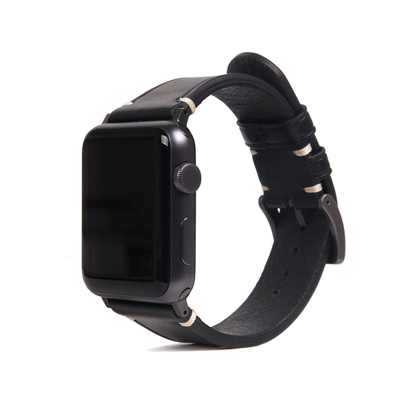 D7 Italian Buttero Leather Strap for Apple Watch 1to5 38/40mm Black