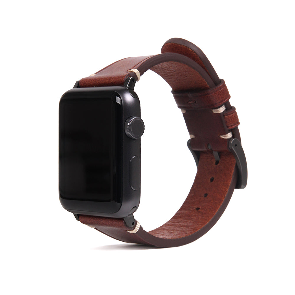 D7 Italian Buttero Leather Strap for Apple Watch 1to5 38/40mm Brown