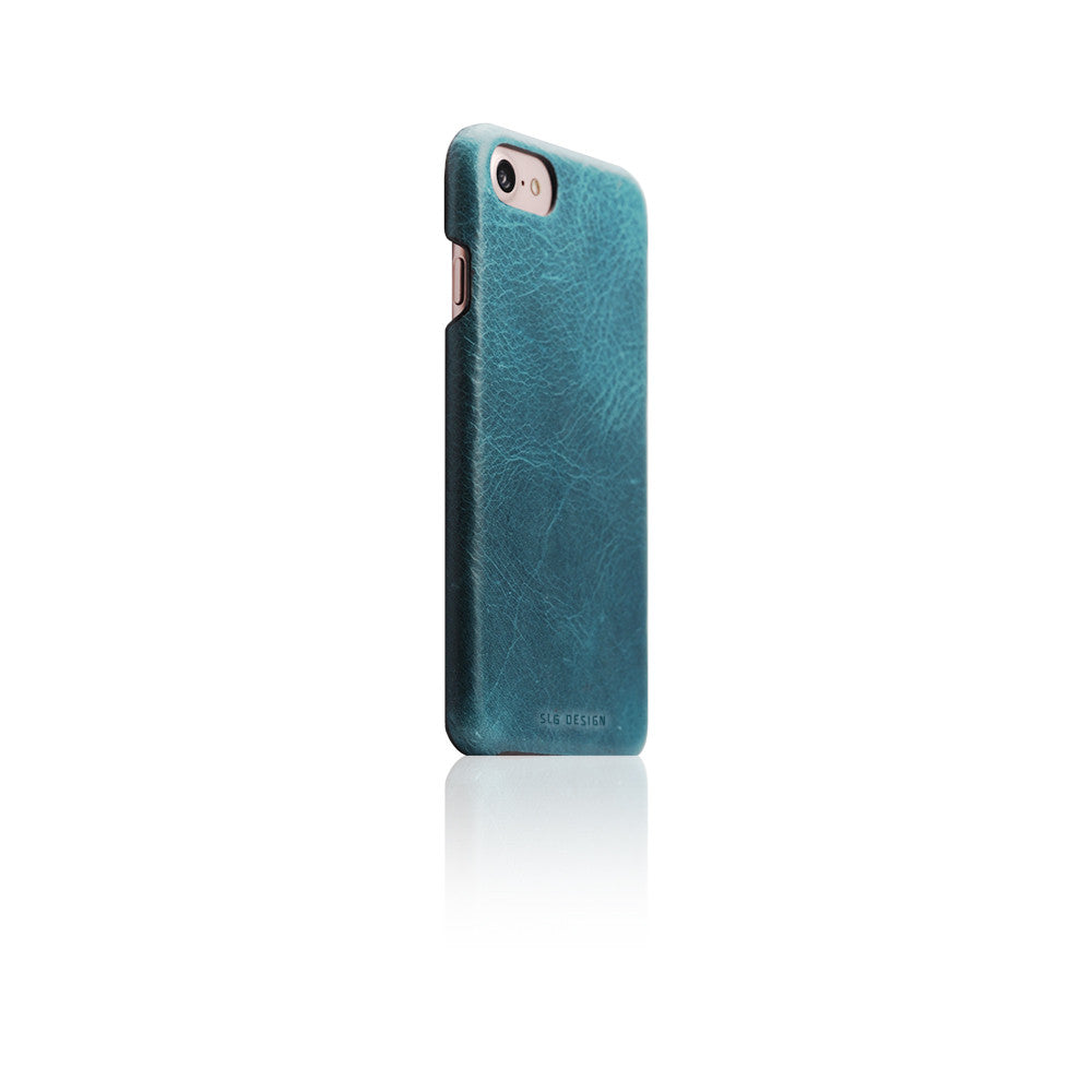D7 Italian Wax Leather Back Case for iPhone 8 / 7 Blue