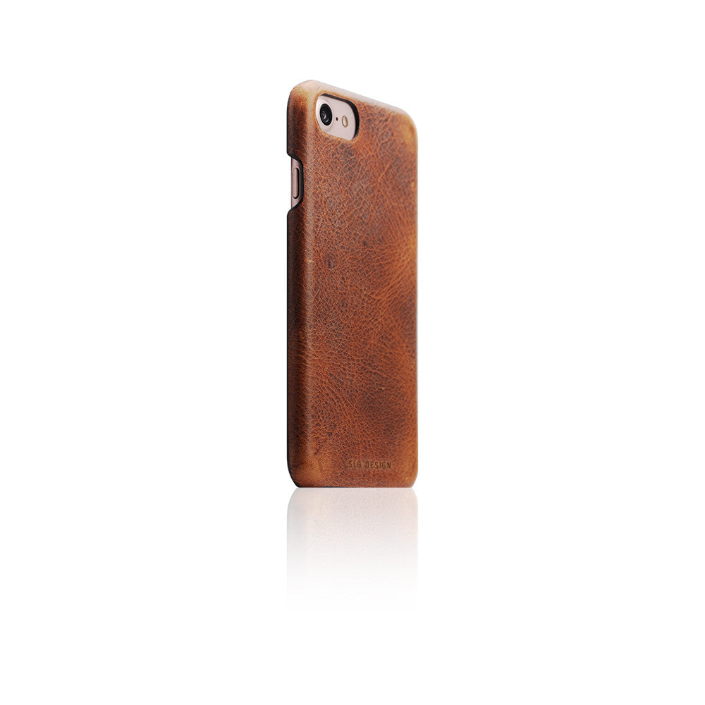 D7 Italian Wax Leather Back Case for iPhone 8 / 7 Brown