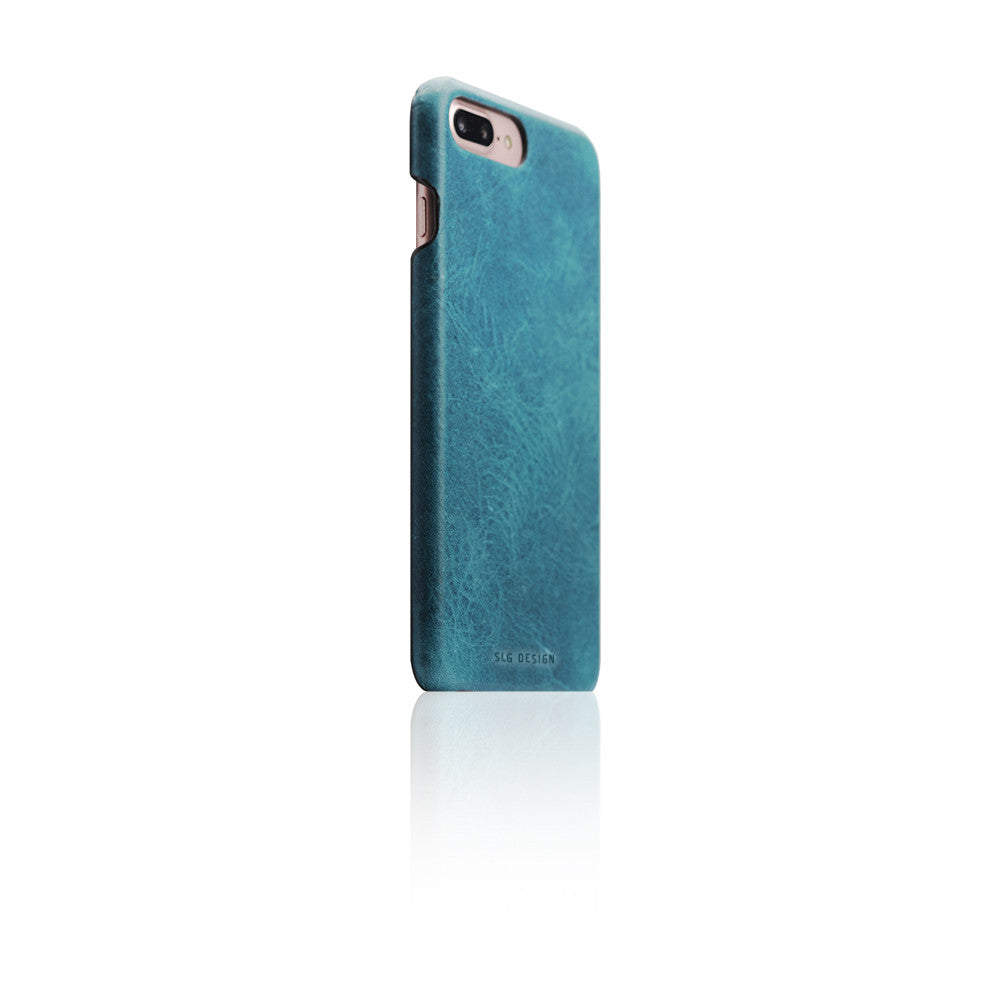 D7 Italian Wax Leather Back Case for iPhone 8 Plus / 7 Plus Blue