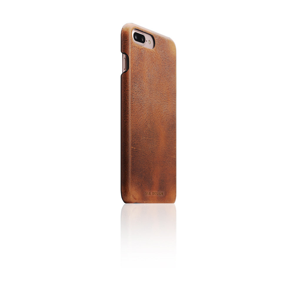 D7 Italian Wax Leather Back Case for iPhone 8 Plus / 7 Plus Brown