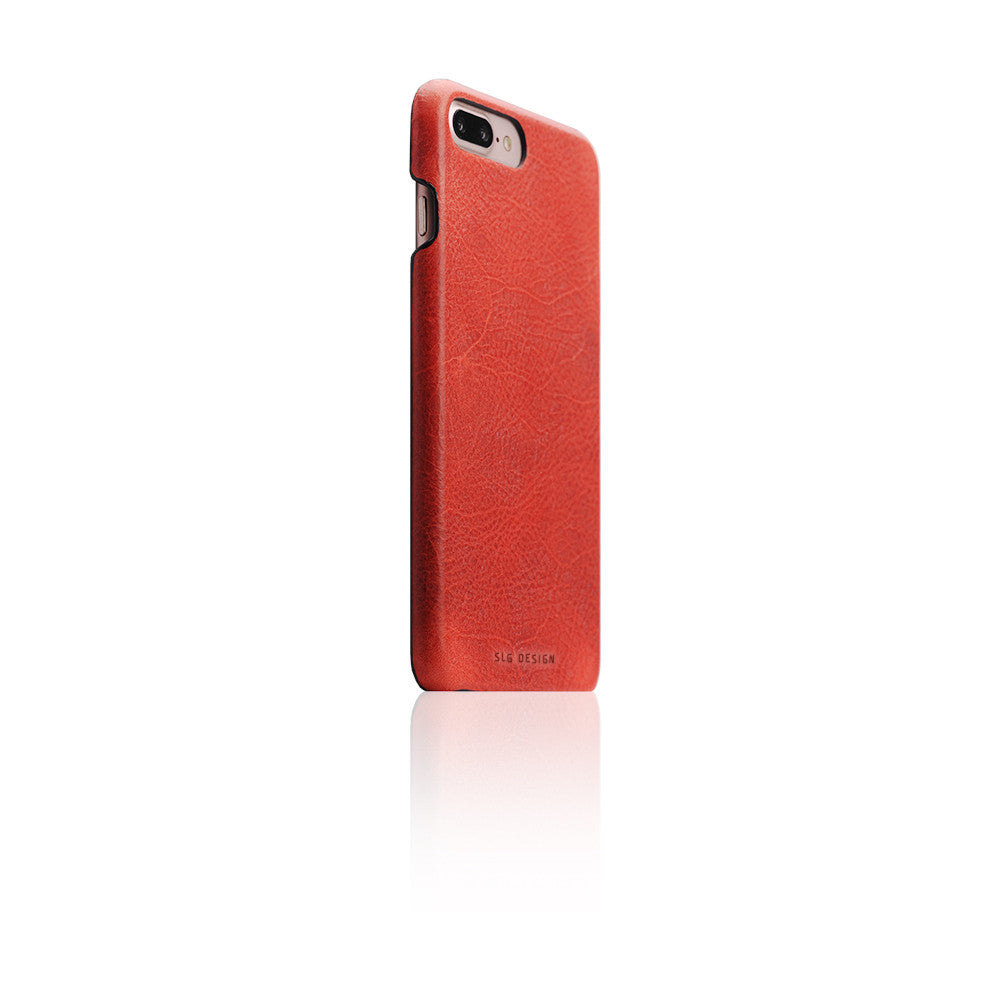 D7 Italian Wax Leather Back Case for iPhone 8 Plus / 7 Plus Red