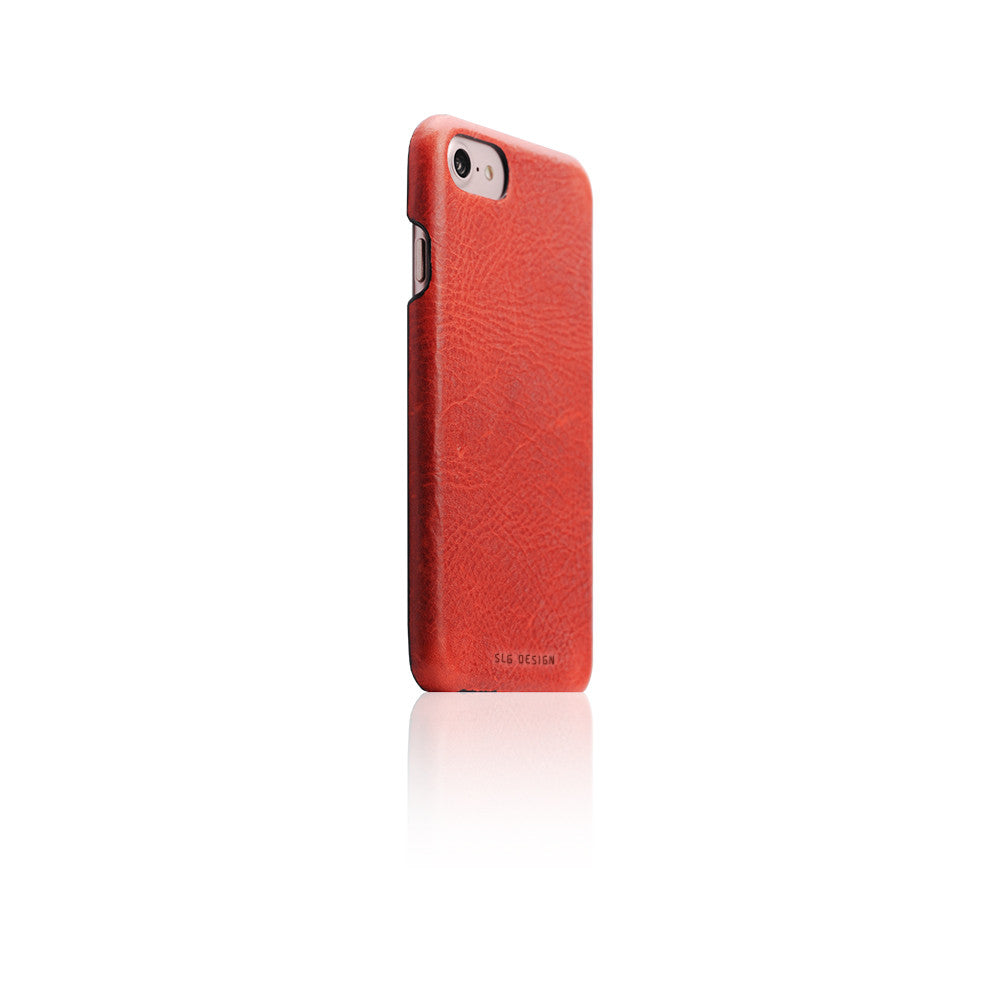 D7 Italian Wax Leather Back Case for iPhone 8 / 7 Red