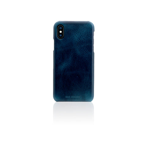 D7 Italian Wax Leather Back Case for iPhone X Blue