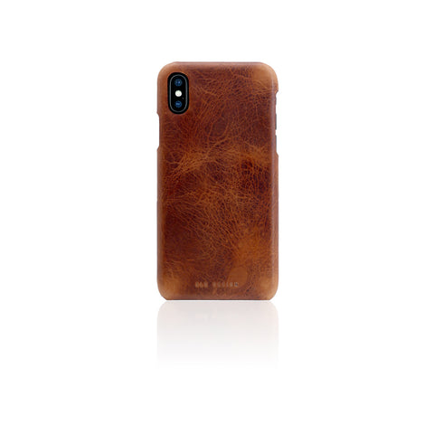 D7 Italian Wax Leather Back Case for iPhone X Brown