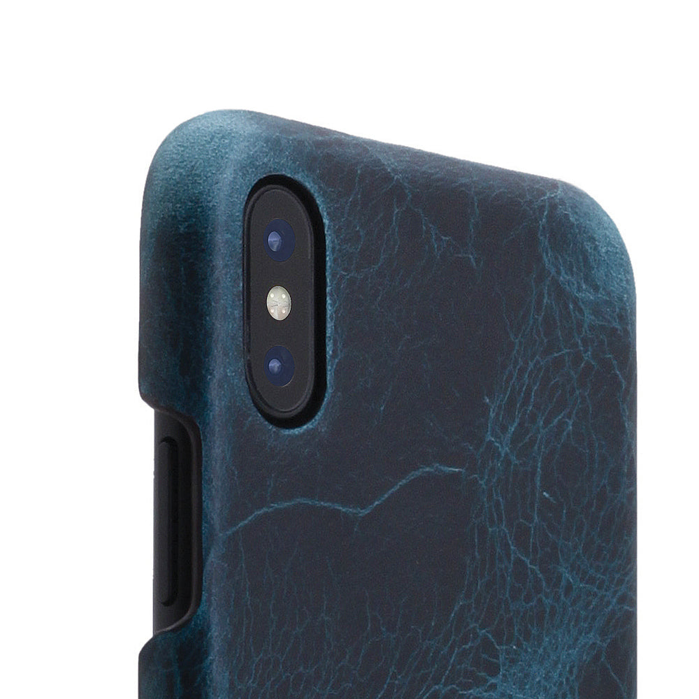D7 Italian Wax Leather Back Case for iPhone X / XS Blue