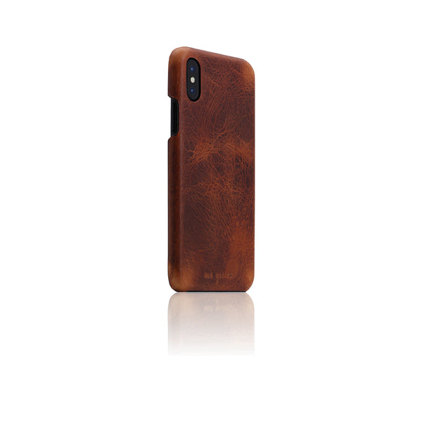 D7 Italian Wax Leather Back Case for iPhone X / XS Brown