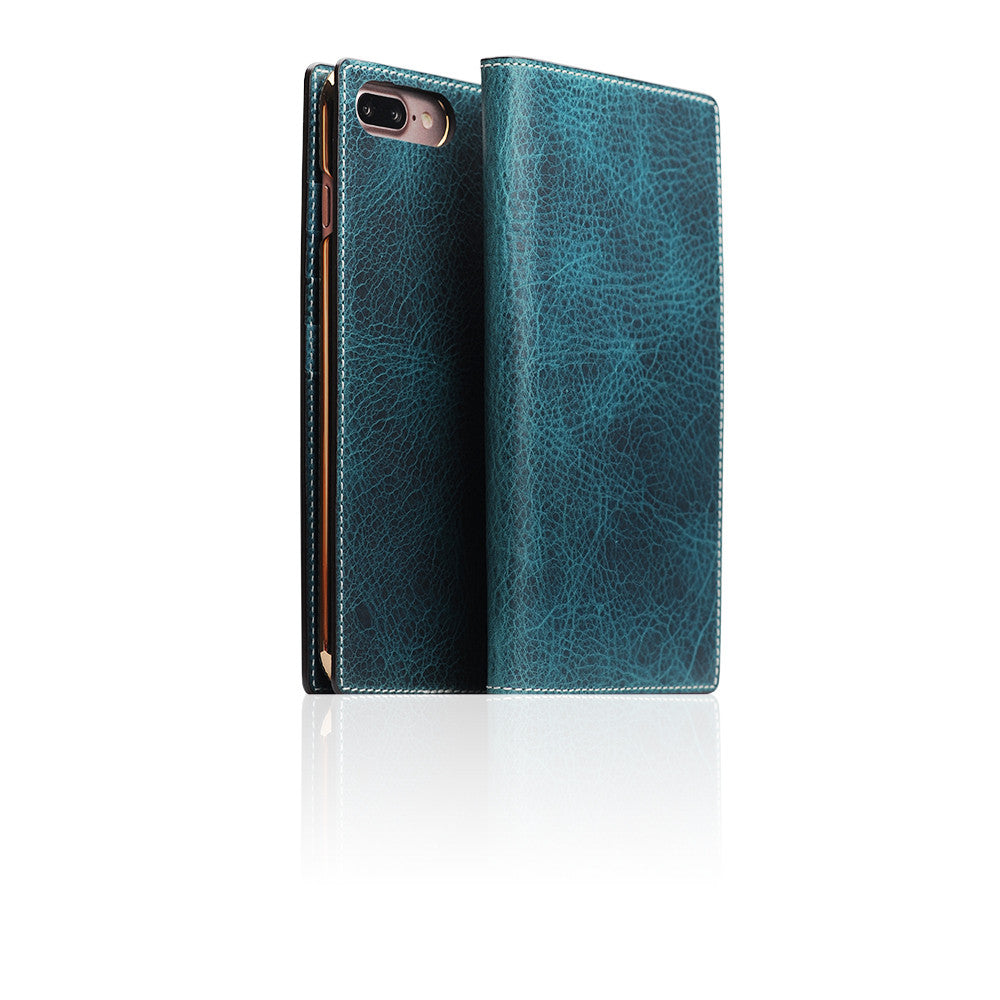 D7 Italian Wax Leather Case for iPhone 7 Plus Blue
