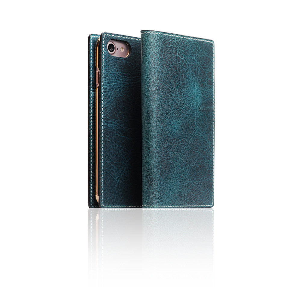 D7 Italian Wax Leather Case for iPhone 7 Blue