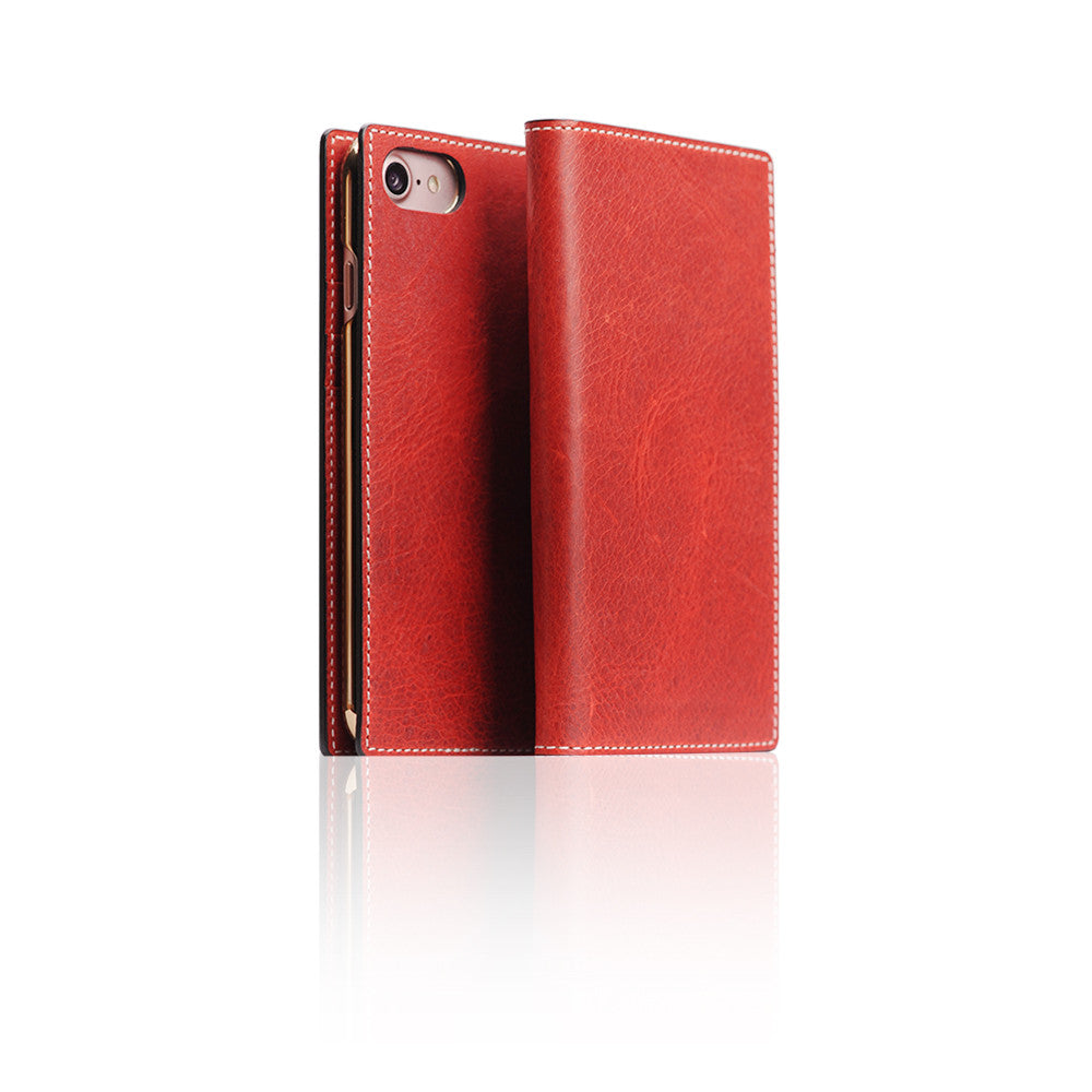 D7 Italian Wax Leather Case for iPhone 8 / 7 Red