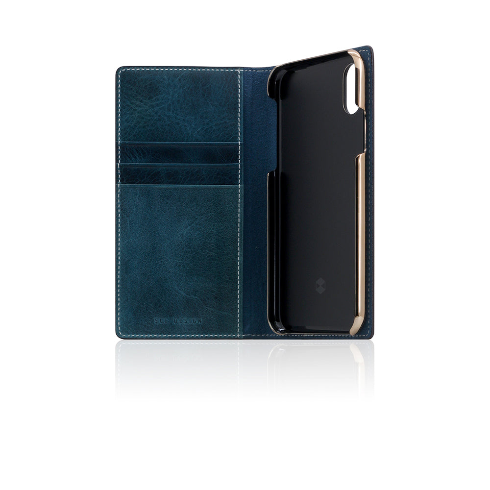 D7 Italian Wax Leather Case for iPhone X / XS Blue