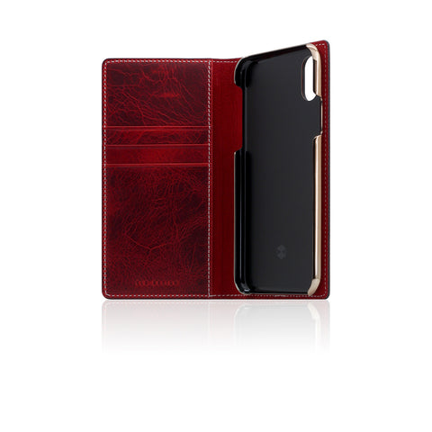 D7 Italian Wax Leather Case for iPhone X Red