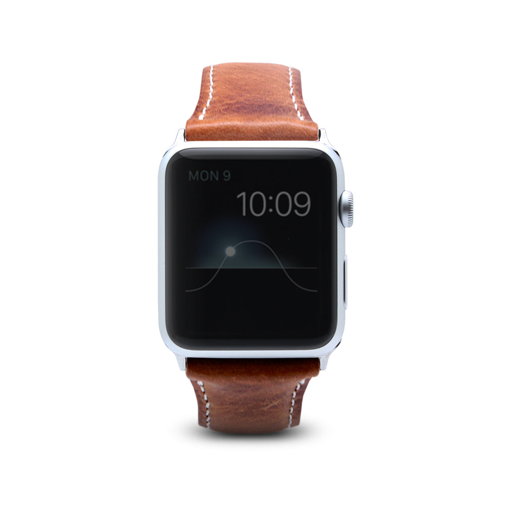 D7 Italian Wax Leather Strap for Apple Watch 1to4 42/44mm Brown