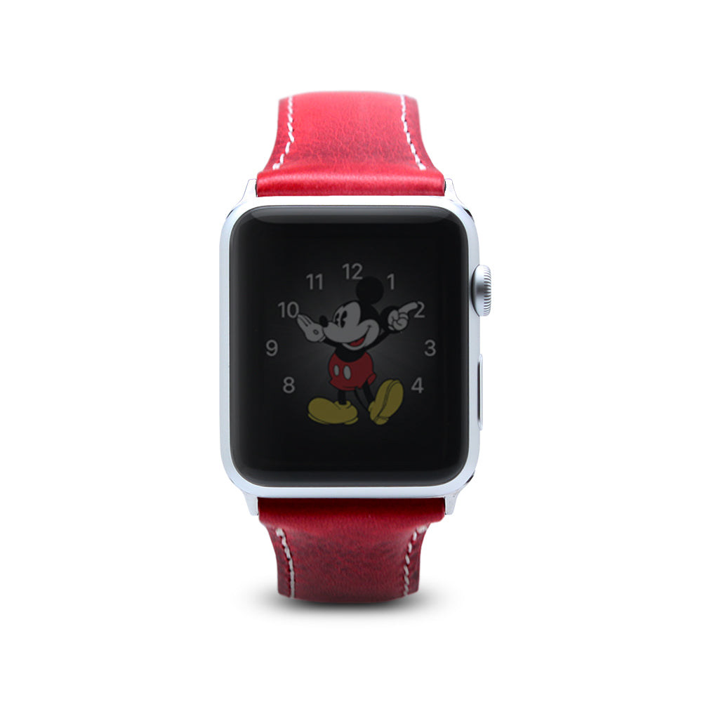 D7 Italian Wax Leather Strap for Apple Watch 1/2/3 42mm Red