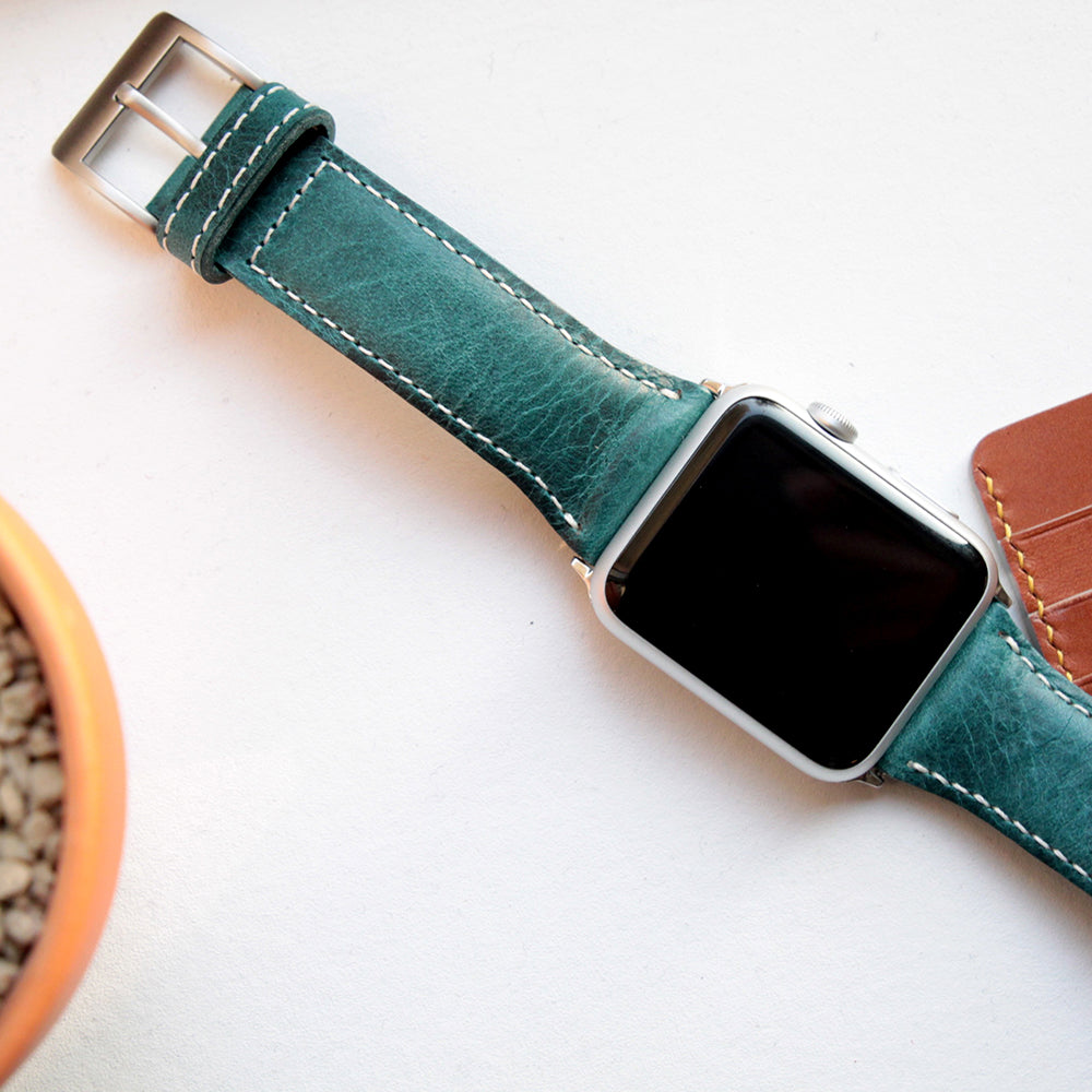 D7 Italian Wax Leather Strap for Apple Watch 1/2/3 42mm Blue