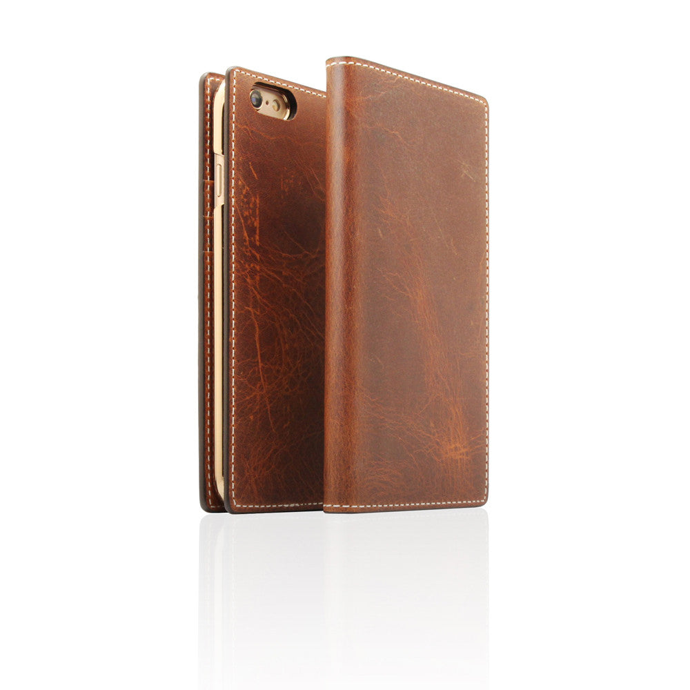 D7 Italian Wax Leather Case for iPhone 6/6s Plus Brown