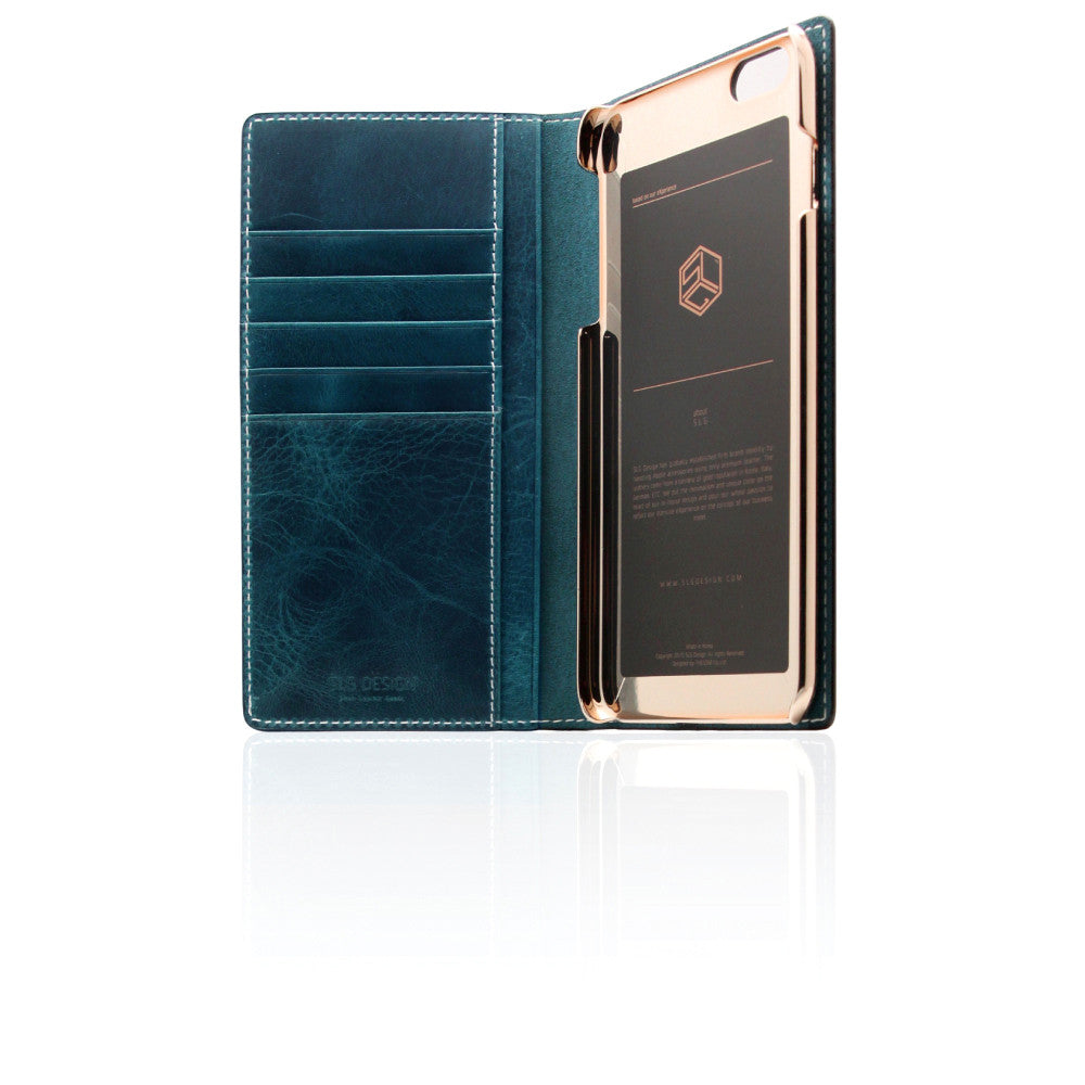 D7 Italian Wax Leather Case for iPhone 6/6s Plus Blue