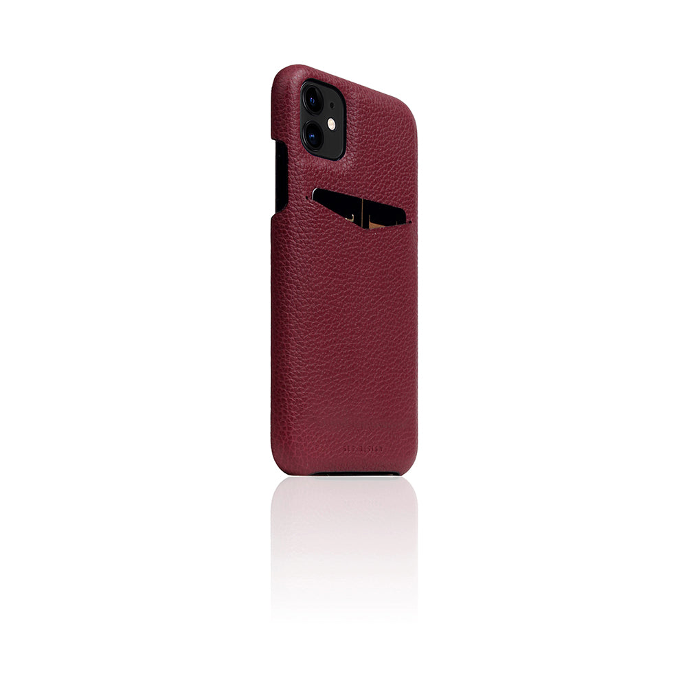 D8 Full Grain Leather Back Case for iPhone 11 Burgundy Rose