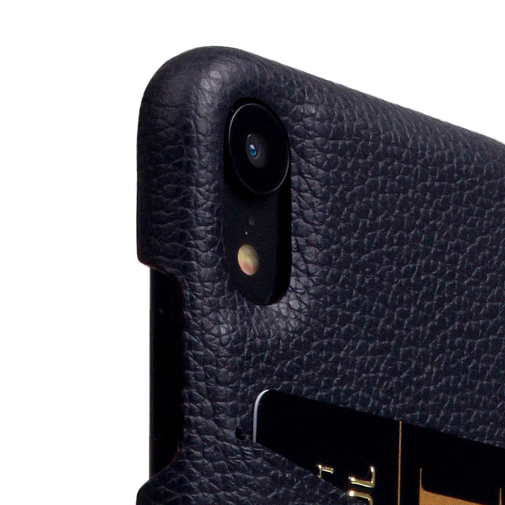 D8 Full Grain Leather Back Case for iPhone XR Black Blue