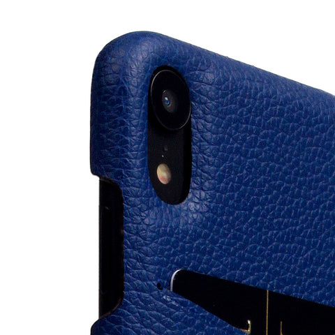 D8 Full Grain Leather Back Case for iPhone XR Navy Blue
