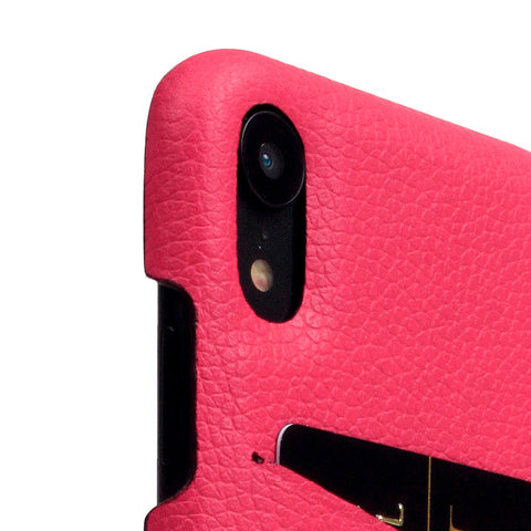 D8 Full Grain Leather Back Case for iPhone XR Pink Rose
