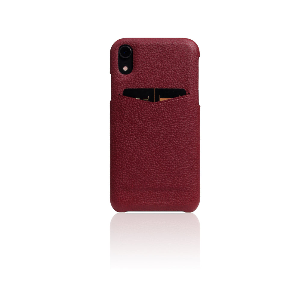 D8 Full Grain Leather Back Case for iPhone XR Burgundy Rose
