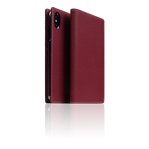 D8 Full Grain Leather Case for iPhone Xs Max Burgundy Rose