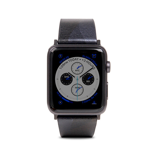 D9 Italian Camo Leather Strap for Apple Watch 1to4 42/44mm Black