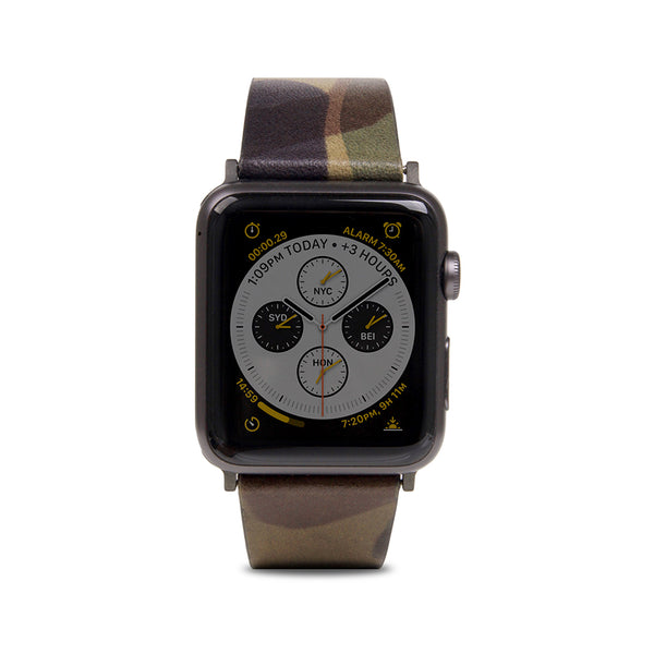 D9 Italian Camo Leather Strap for Apple Watch 1to4 42/44mm Khaki